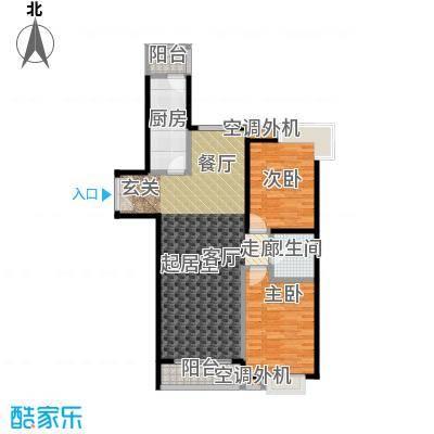 桐城国际120.00㎡E2-F单元01二室二厅一卫户型