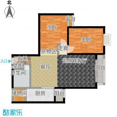 桐城国际二期B户型二室二厅一卫户型