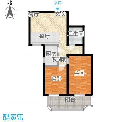 健翔园87.55㎡两室一厅一卫户型