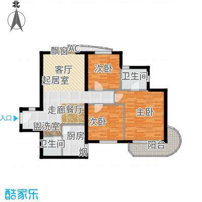 艺水芳园108.62㎡三室二厅二卫户型