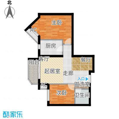 艺水芳园76.46㎡二室二厅二卫户型