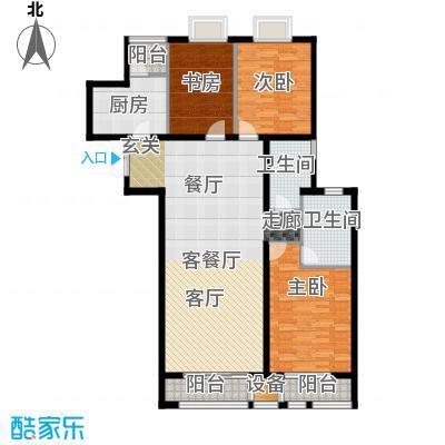 新华联丽景・珊瑚湾F2户型三室二厅二卫户型