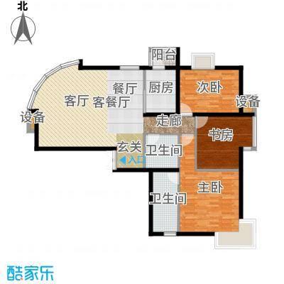 新华联丽景・珊瑚湾137.86㎡J户型三室二厅二卫户型