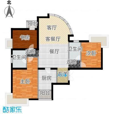 新华联丽景・珊瑚湾135.82㎡H户型三室二厅二卫户型