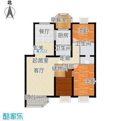 灵秀山庄(水语自然)144.79㎡三室二厅户型