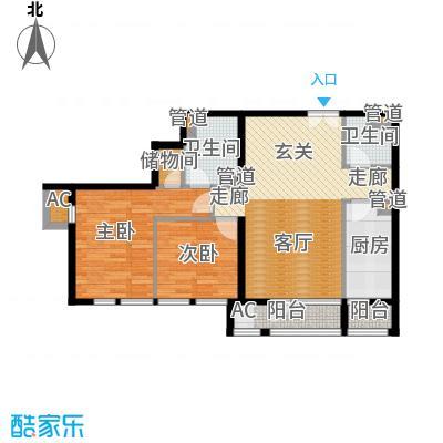 北京香颂精品公馆C户型两室两厅两卫户型