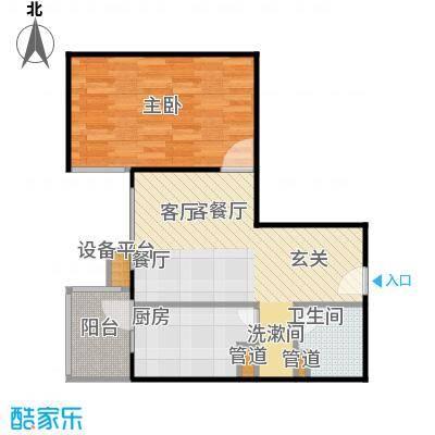 甘露家园59.41㎡1室2厅1卫1厨户型