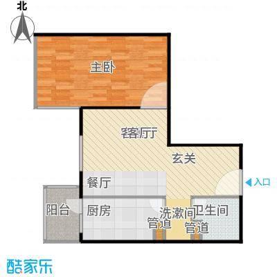 甘露家园62.56㎡1室2厅1卫1厨户型