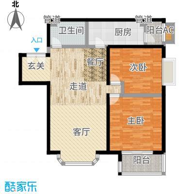 国展新座105.03㎡2室2厅1卫1厨户型
