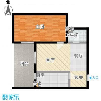 东风家园82.20㎡一室一厅一卫户型