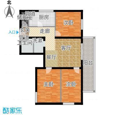 日月东华104.60㎡三居室户型