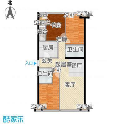 UHN国际村140.46㎡1号楼J户型,3室2厅2卫户型