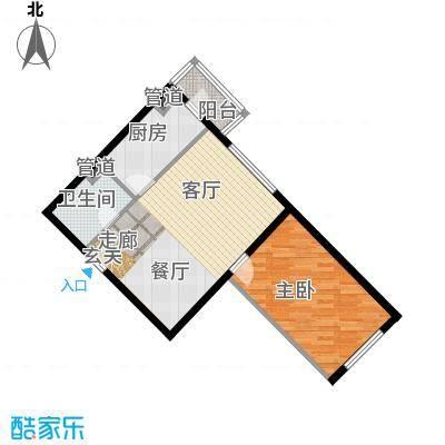 泰华滨河苑77.00㎡1号楼07一室两厅一卫户型