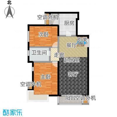 桐城国际111.00㎡E3-E单元标准层02二室二厅一卫户型