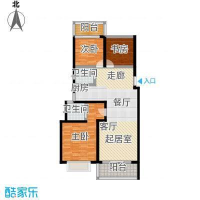 漓江蓝湾97.88㎡5#F户型(两房变三房)户型2室2厅2卫