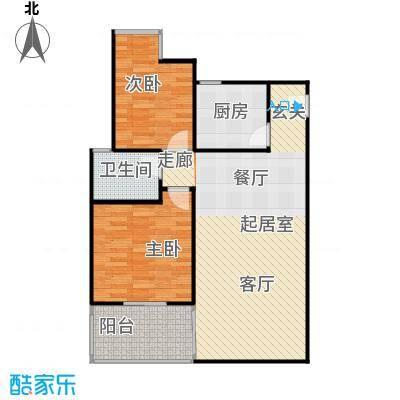 水岸新城2房2厅1卫(J2)户型