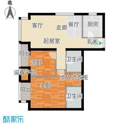 华彩国际公寓104.73㎡B3两室两厅两卫户型2室2厅2卫