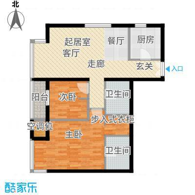 华彩国际公寓2JB3反户型二室二厅二卫户型2室2厅2卫