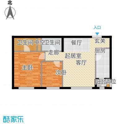 华彩国际公寓2JB1户型二室二厅二卫户型2室2厅2卫