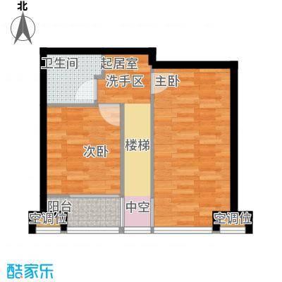 UHN国际村118.11㎡1号楼B户型(跃层上),2室2厅2卫户型