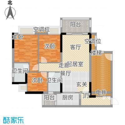 保利花园98.00㎡一号楼04单元户型3室2厅2卫
