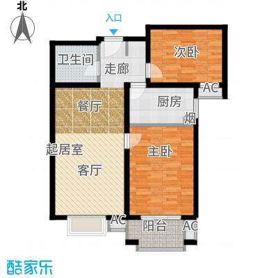 艺水芳园93.06㎡二室二厅一卫户型