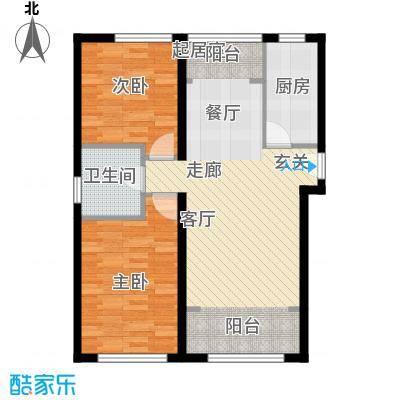 北纬40度景观公寓D3户型二室二厅一卫户型