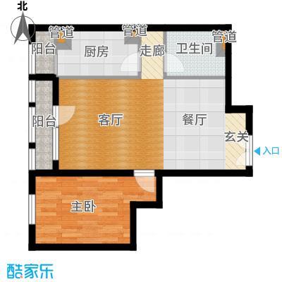 北京香颂精品公馆B户型一室两厅一卫户型