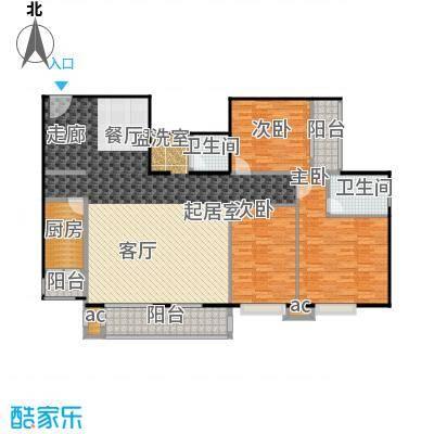 双花园小区165.88㎡2室2厅1卫1厨户型