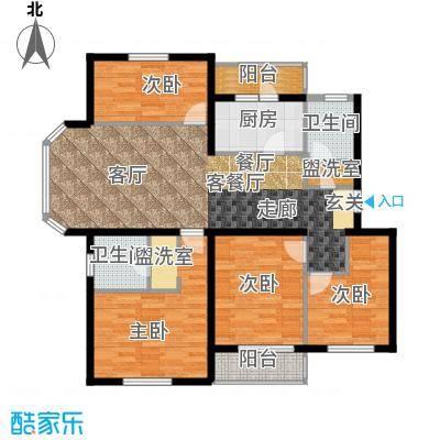 白河涧别墅126.06㎡四室两厅两卫户型