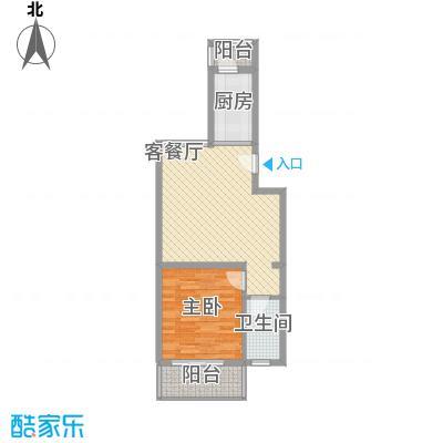 白河涧别墅62.75㎡一室一厅一卫户型