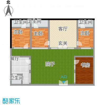 青龙湖山水四合院158.00㎡B户型平面图户型-T