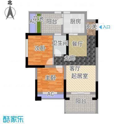 金科蚂蚁SOHO二代2房2厅1卫+观景阳台,约67.21平米户型