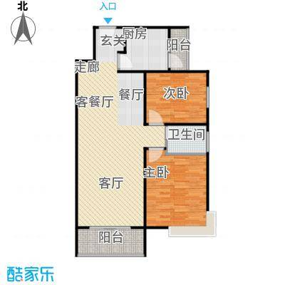 檀宫秀府91.98㎡小高层B户型两室两厅一卫户型