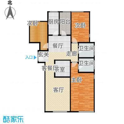 檀宫秀府150.90㎡小高层A户型三室两厅两卫户型