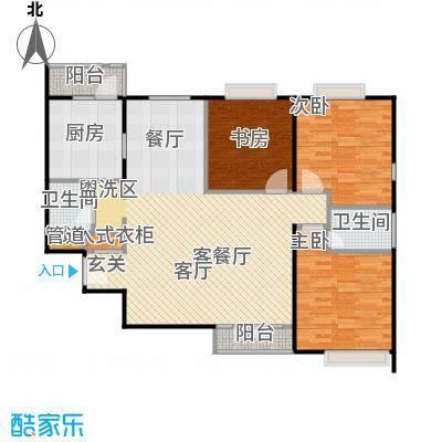 檀宫秀府103.33㎡A反户型三室两厅两卫户型