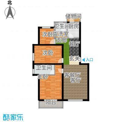 白河涧别墅112.03㎡三室两厅两卫户型