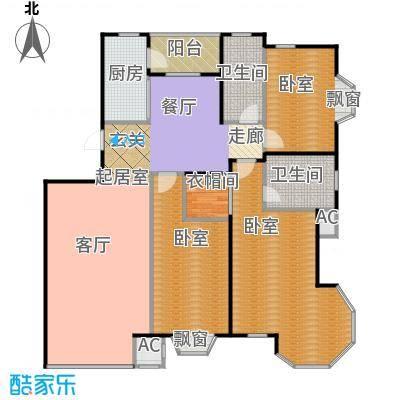 瑞海姆公寓156.00㎡三室二厅二卫户型