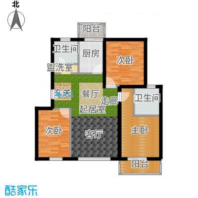 白河涧别墅104.82㎡三室两厅两卫户型