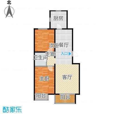 金海城87.97㎡D反户型 二室二厅一卫户型2室2厅1卫