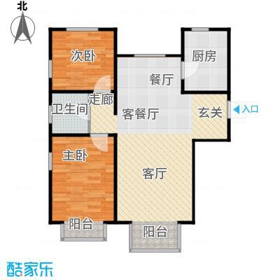 金海城90.76㎡A户型 二室二厅一卫户型2室2厅1卫