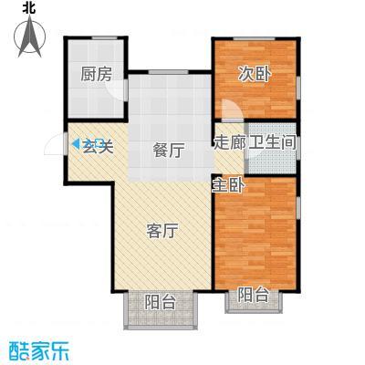 金海城90.76㎡A反户型 二室二厅一卫户型2室2厅1卫