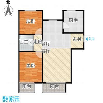 金海城90.72㎡D反户型 二室二厅一卫户型2室2厅1卫