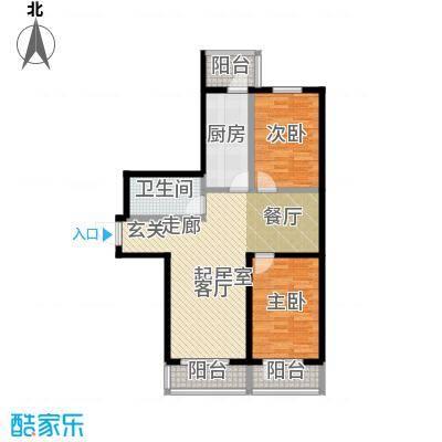 香河天悦89.81㎡F户型 两室两厅一卫户型2室2厅1卫
