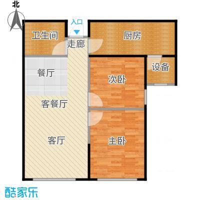 帕克峰景75.00㎡两室两厅一卫户型2室2厅1卫