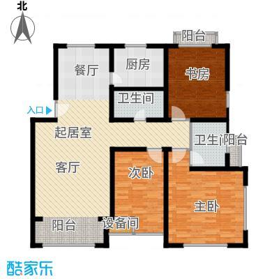 金海依云小镇134.66㎡D户型 三室二厅二卫户型3室2厅2卫