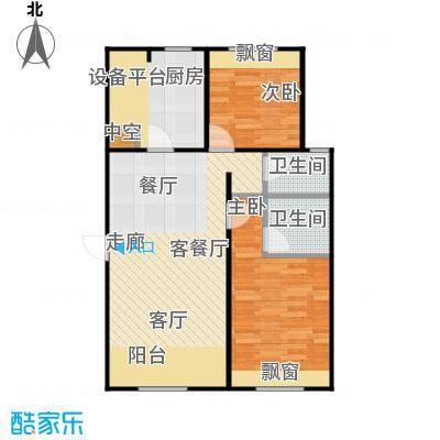 帕克峰景85.00㎡两室两厅两卫户型2室2厅2卫