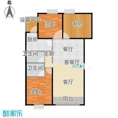 帕克峰景95.00㎡三室两厅两卫户型3室2厅2卫