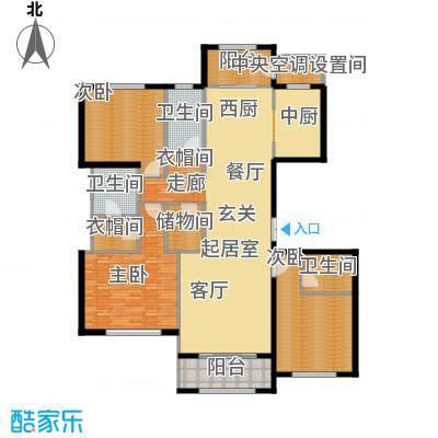 廊坊孔雀城大公馆179.00㎡3#11#楼标准层3室2厅3卫2厨户型3室2厅3卫