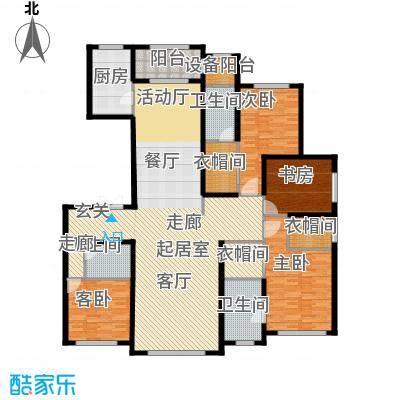 廊坊孔雀城大公馆219.00㎡1#楼标准层4室2厅3卫2厨户型4室2厅3卫